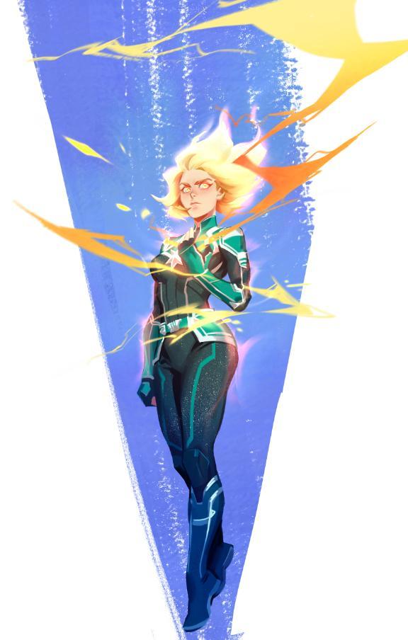 1girl blonde_hair bodysuit boots captain_marvel captain_marvel_(film) carol_danvers fiery_hair floating floating_hair glowing glowing_eyes glowing_hair pukun solo superhero yellow_eyes