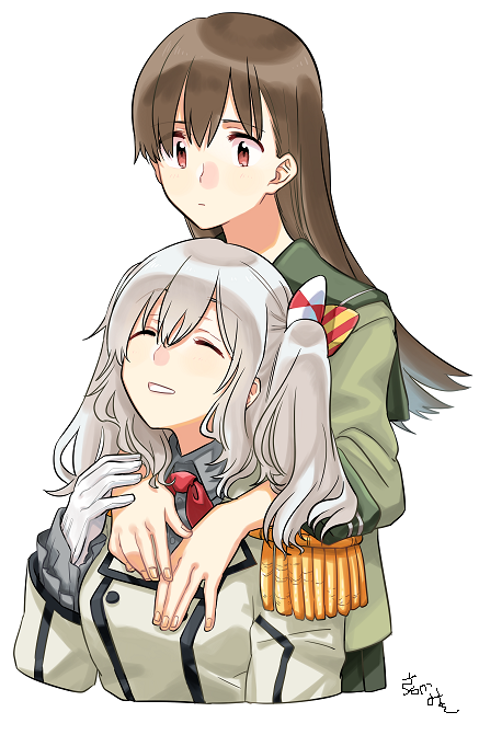 2girls arms_around_neck artist_name bangs bow breasts brown_eyes brown_hair buttons closed_eyes closed_mouth collared_shirt commentary_request cropped_torso epaulettes eyebrows_visible_through_hair fingernails frilled_sleeves frills gloves green_sailor_collar green_serafuku green_skirt grey_hair grey_shirt hair_between_eyes hair_bow kantai_collection kashima_(kantai_collection) long_hair long_sleeves looking_up military military_jacket multiple_girls neckerchief no_hat no_headwear ooi_(kantai_collection) parted_lips pleated_skirt red_neckwear sagamiso sailor_collar school_uniform serafuku shirt simple_background skirt smile twintails wavy_hair white_background white_gloves z_flag