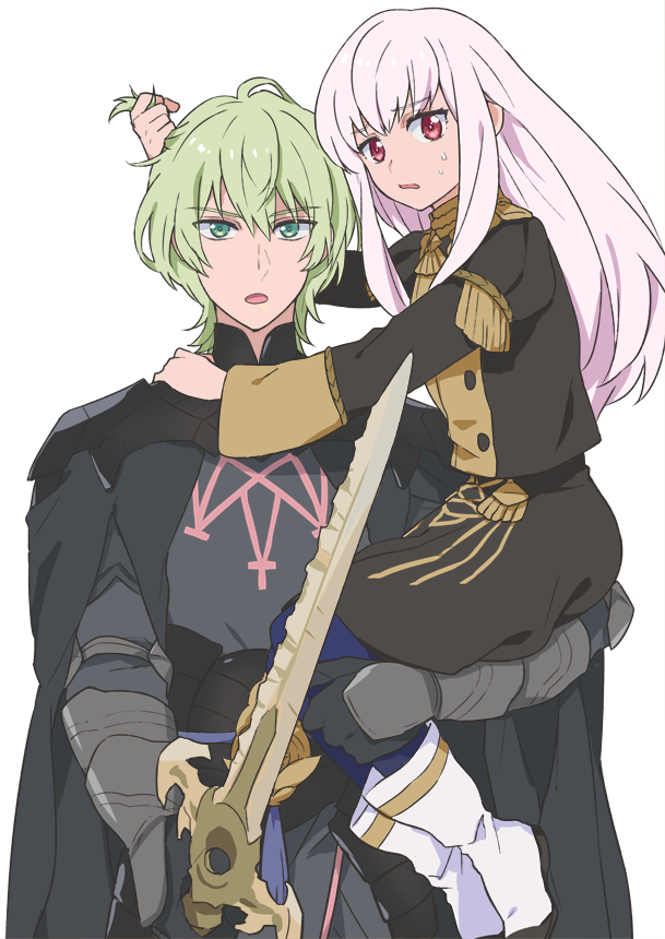 1boy 1girl armor black_armor blue_legwear byleth_(fire_emblem) byleth_(fire_emblem)_(male) carrying chocofksg fire_emblem fire_emblem:_three_houses garreg_mach_monastery_uniform green_eyes green_hair holding holding_sword holding_weapon long_hair long_sleeves lysithea_von_ordelia open_mouth pink_eyes short_hair simple_background sword uniform weapon white_background white_hair