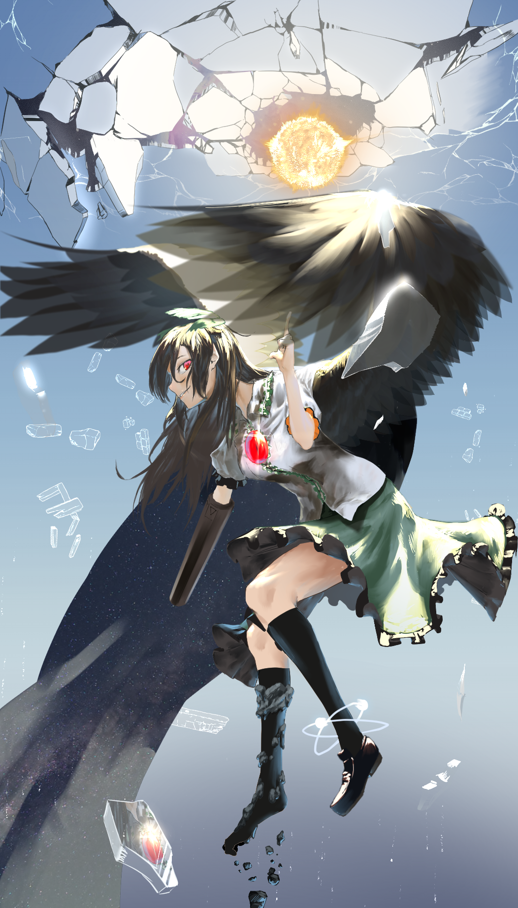 arm_cannon asymmetrical_footwear atom bird_wings black_legwear black_wings blouse bow brown_hair cape capelet collared_blouse control_rod crack floating frilled_skirt frills from_side full_body green_bow green_skirt grin hair_bow hand_up highres index_finger_raised leaning_forward long_hair looking_at_viewer looking_to_the_side medium_skirt mismatched_footwear namusan1146 outstretched_arm red_eyes reiuji_utsuho shoes short_sleeves sidelocks single_shoe skirt smile smirk socks starry_sky_print sun third_eye touhou weapon white_blouse white_cape wing_collar wings