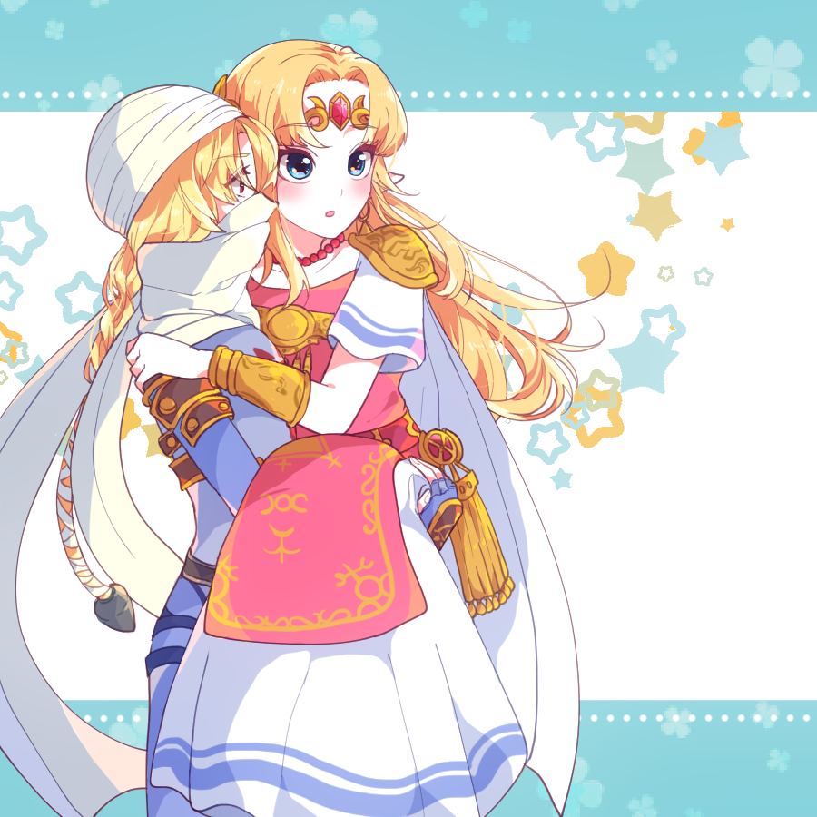 2girls androgynous bandages blonde_hair bracer braid carrying circlet dark_skin dual_persona earrings forehead_jewel hat indisk_irio jewelry long_hair mask multiple_girls pointy_ears princess_carry princess_zelda reverse_trap sheik super_smash_bros. surcoat the_legend_of_zelda the_legend_of_zelda:_a_link_between_worlds the_legend_of_zelda:_breath_of_the_wild the_legend_of_zelda:_ocarina_of_time tiara triforce tunic turban