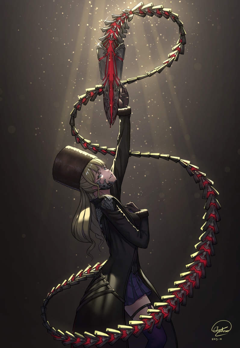 1girl andonoz bangs blonde_hair blue_eyes bustier code_vein dated eyebrows_visible_through_hair fur_hat gloves hand_on_own_chest hat long_coat long_hair looking_at_viewer mia_karnstein papakha pleated_skirt profile signature skirt smile solo standing tail thigh-highs