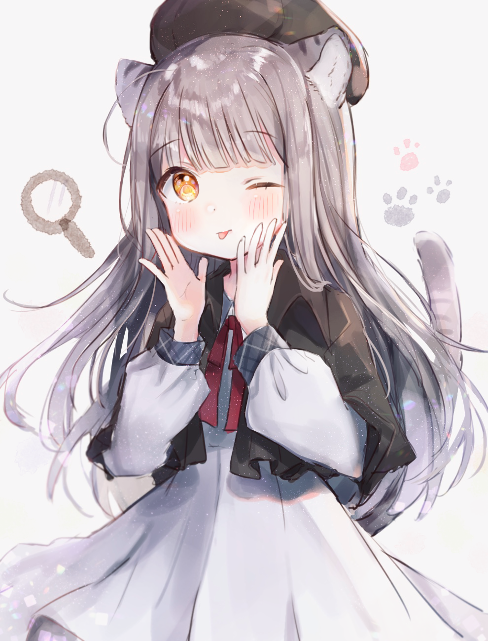 1girl ;p animal_ears beret capelet cat_ears cat_tail commentary_request dress hat highres long_hair long_sleeves looking_at_viewer magnifying_glass one_eye_closed orange_eyes original paw_background rukako silver_hair simple_background tail tongue tongue_out