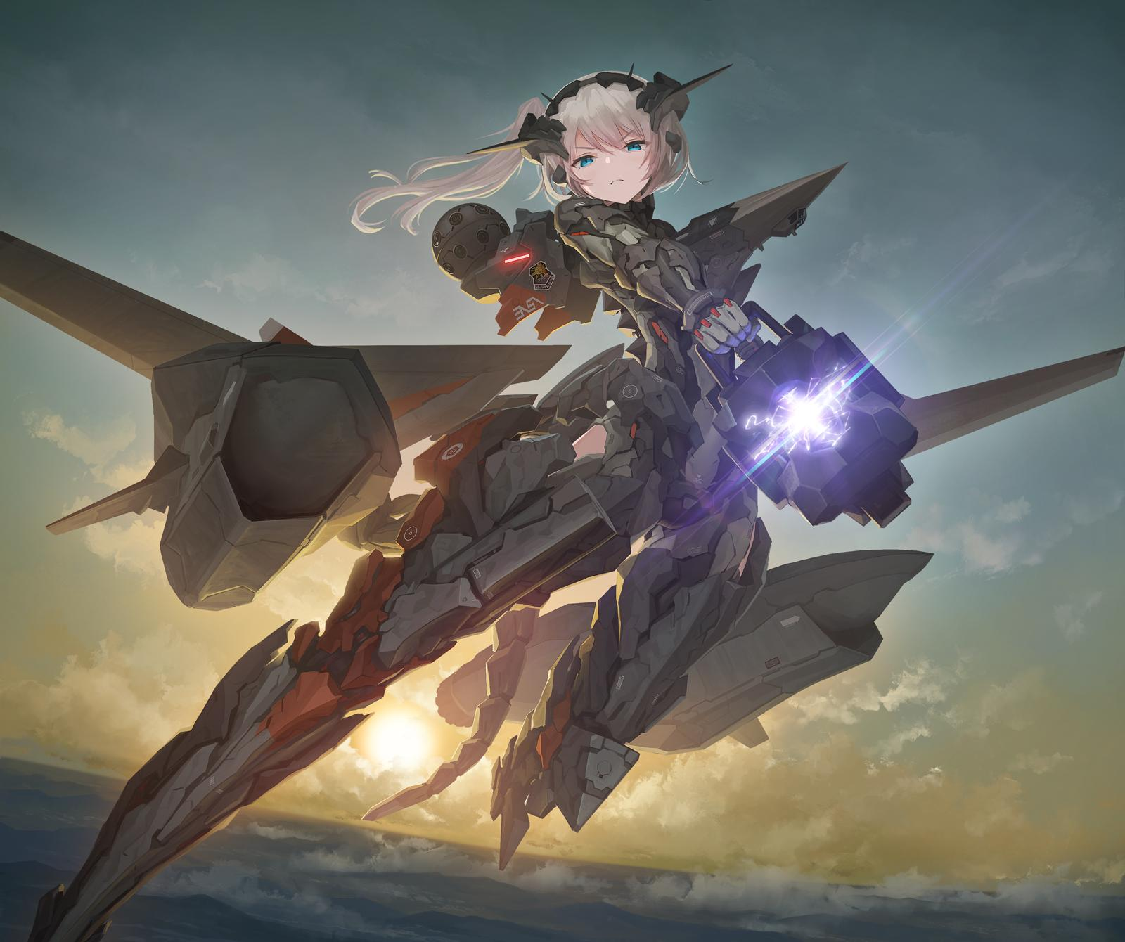 >:( 1girl ace_combat ace_combat_7 blue_eyes clouds commentary_request firing floating headwear highres holding holding_weapon looking_at_viewer mecha_musume mechanical_arm mechanical_tail personification railgun scenery side_ponytail solo sunset tail tom-neko_(zamudo_akiyuki) weapon white_hair x-02s_strike_wyvern