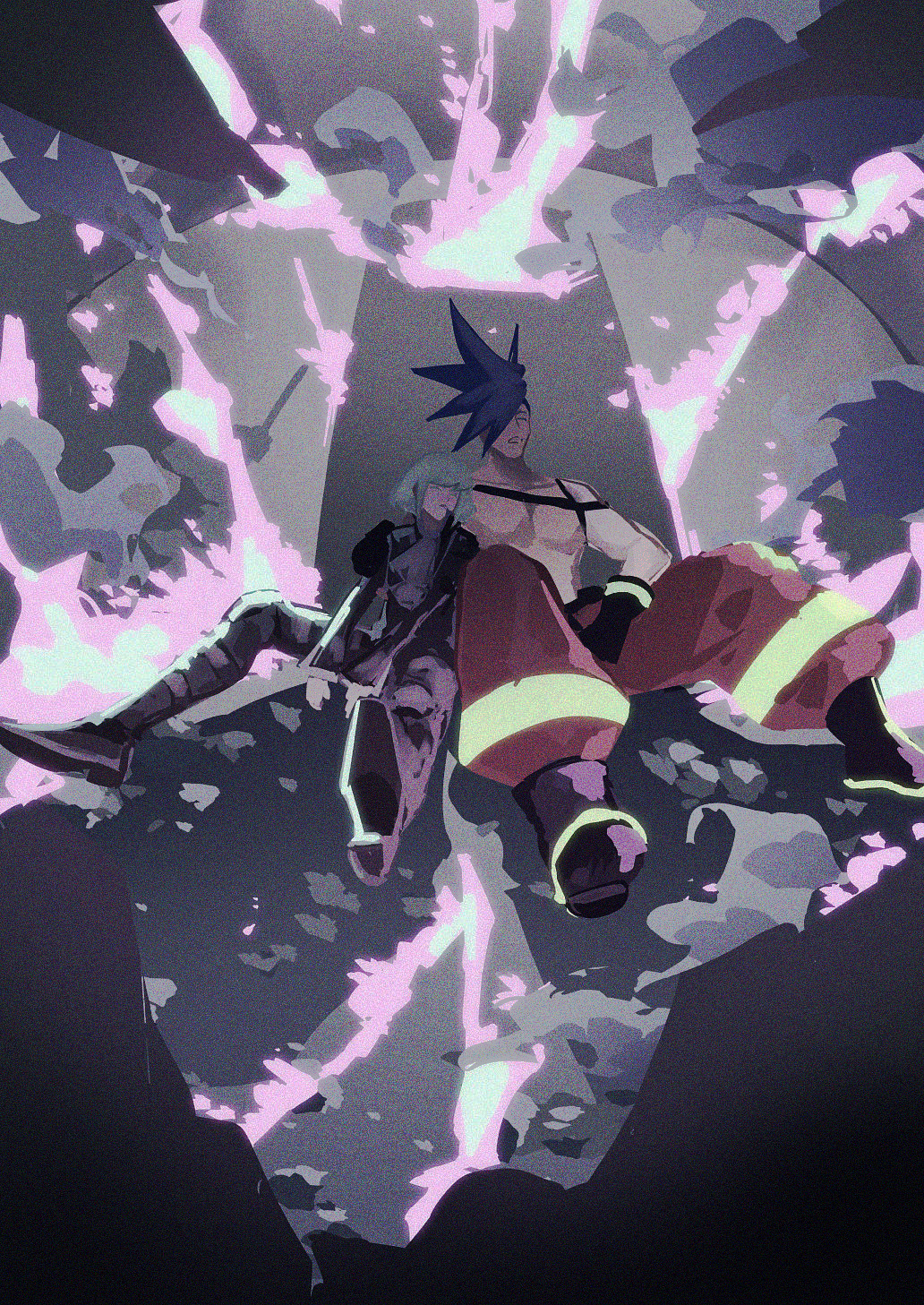 2boys blue_hair fire galo_thymos green_fire green_hair highres ke889 male_focus multiple_boys muted_color promare purple_fire shirtless sitting sleeping static