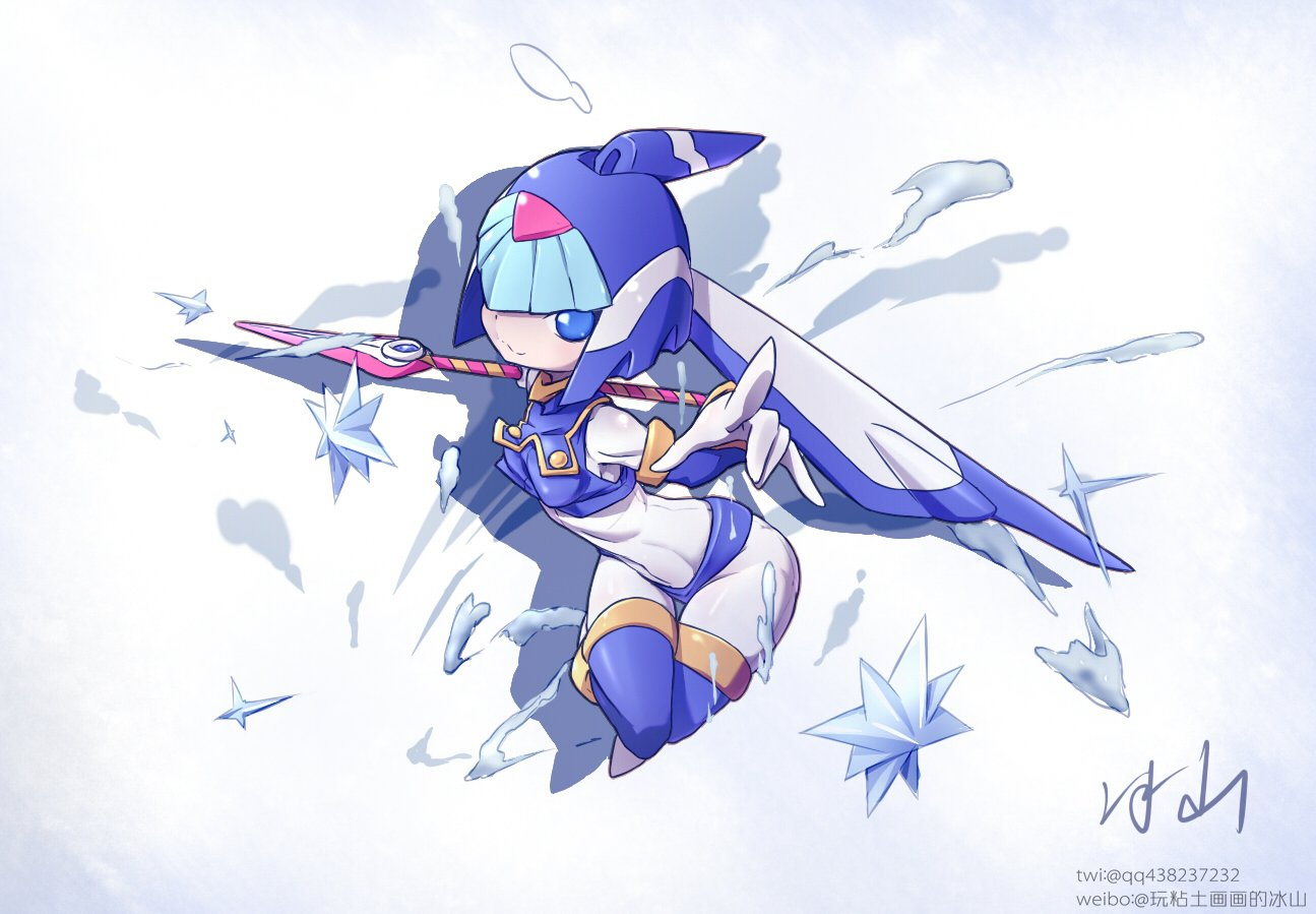 1girl android bingshan blue_eyes blush breasts commentary_request full_body helmet holding holding_weapon ice leviathan_(rockman) pointing pointing_at_viewer polearm rockman signature simple_background skin_tight small_breasts smile solo spear thigh-highs twitter_username water weapon weibo_username