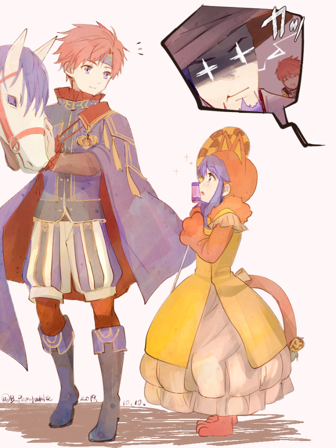 1girl 3boys adult age_difference animal animal_hood beard blue_eyes blue_hair cape cat_hood cat_tail child closed_mouth dated dress eliwood_(fire_emblem) facial_hair fake_tail father_and_daughter father_and_son fire_emblem fire_emblem:_fuuin_no_tsurugi fire_emblem:_rekka_no_ken fire_emblem:_the_binding_blade fire_emblem:_the_blazing_blade fire_emblem_blazing_sword fire_emblem_heroes fire_emblem_sword_of_seals from_side halloween halloween_costume hat headband hector_(fire_emblem) hood horse human intelligent_systems lilina lilina_(fire_emblem) long_hair long_sleeves multiple_boys nintendo open_mouth redhead roy_(fire_emblem) shoochiku_bai short_hair super_smash_bros. tail teenage time_paradox twitter_username witch_hat young young_adult younger