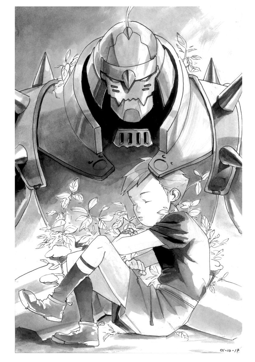 2017 2boys alphonse_elric ankle_boots armor backlighting black_legwear black_shirt boots border clenched_hands closed_eyes crossed_arms dated dual_persona expressionless fingernails full_armor full_body fullmetal_alchemist gradient gradient_background grey_background greyscale helmet highres leaf male_focus mmediocreman monochrome multiple_boys parted_lips plant shaded_face shirt short_sleeves shorts simple_background sitting socks white_background white_border
