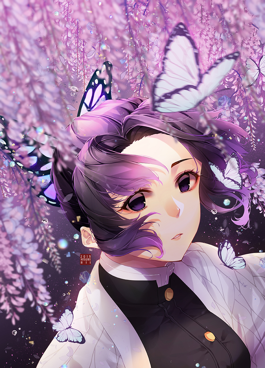 1girl black_jacket bug butterfly butterfly_hair_ornament floating_hair flower gradient_hair hair_ornament haori highres hisuririi insect jacket japanese_clothes kimetsu_no_yaiba kochou_shinobu looking_at_viewer multicolored_hair parted_lips purple_flower purple_hair short_hair solo upper_body violet_eyes wisteria