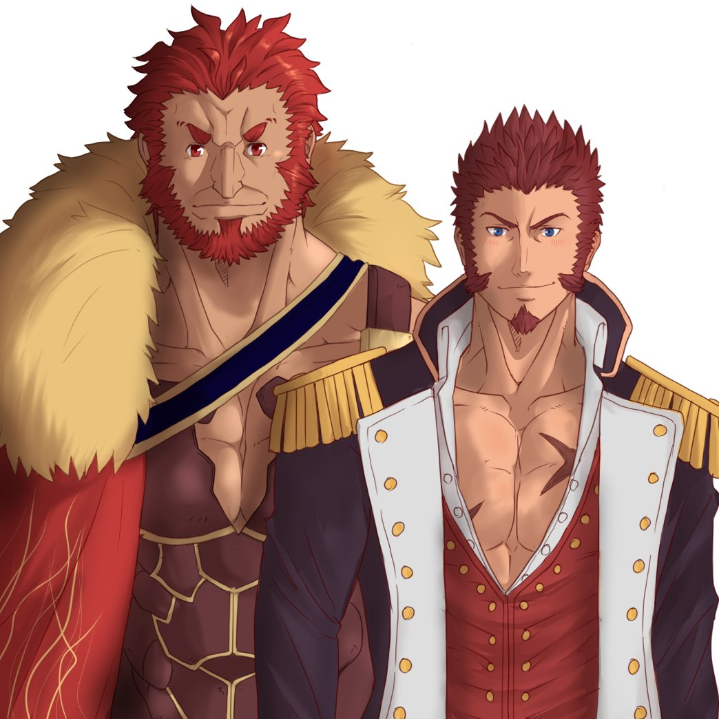 2boys abeberries armor bara beard blue_eyes blush brown_hair cape chest epaulettes facial_hair fate/grand_order fate_(series) jacket leather long_sleeves looking_at_viewer male_focus military military_uniform multiple_boys muscle napoleon_bonaparte_(fate/grand_order) open_clothes open_jacket pectorals red_eyes redhead rider_(fate/zero) scar sideburns smile uniform