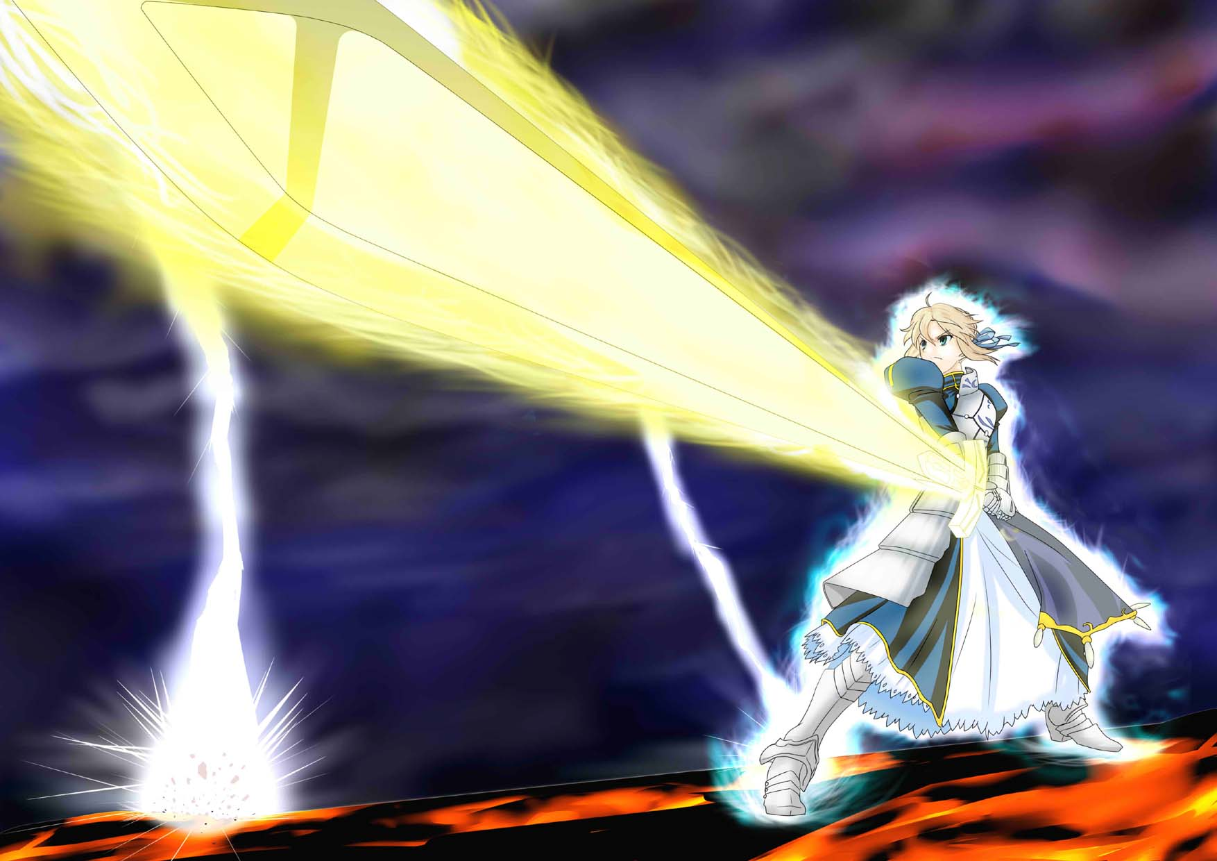 1girl ahoge armor armored_dress artoria_pendragon_(all) aura bangs blonde_hair braid clouds cloudy_sky dress excalibur fate/stay_night fate_(series) french_braid gauntlets glowing glowing_sword glowing_weapon green_eyes hair_between_eyes hair_ribbon highres holding holding_sword holding_weapon lightning planted_sword planted_weapon ponytail ribbon saber short_hair sky solo sunrise_stance sword tomo5656ky weapon