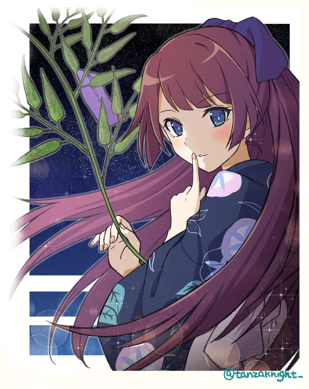 1girl bakemonogatari bangs blue_eyes blue_kimono blush border bow commentary_request finger_to_mouth floral_print hair_blowing hair_bow hand_up highres holding holding_plant japanese_clothes kimono lens_flare looking_at_viewer looking_to_the_side monogatari_(series) nail_polish night night_sky parted_lips pink_nails plant_request print_kimono purple_hair senjougahara_hitagi shiny shiny_hair sidelocks sky solo sparkle swept_bangs tanzaku_kishi twitter_username upper_body violet_eyes white_border wide_sleeves yukata