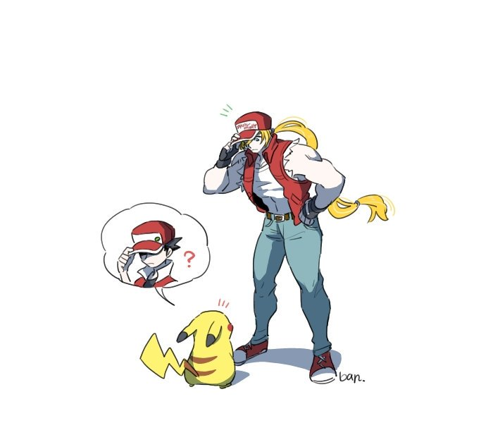 /\/\/\ 1boy blonde_hair closed_mouth denim fatal_fury fingerless_gloves gen_1_pokemon gloves hand_on_hip jeans look-alike looking_at_another male_focus muscle pants pikachu pokemon pokemon_(creature) pokemon_(game) pokemon_rgby red_(pokemon) shaded_face shoes simple_background sneakers spoken_character super_smash_bros. terry_bogard torn_clothes torn_sleeves vest white_background