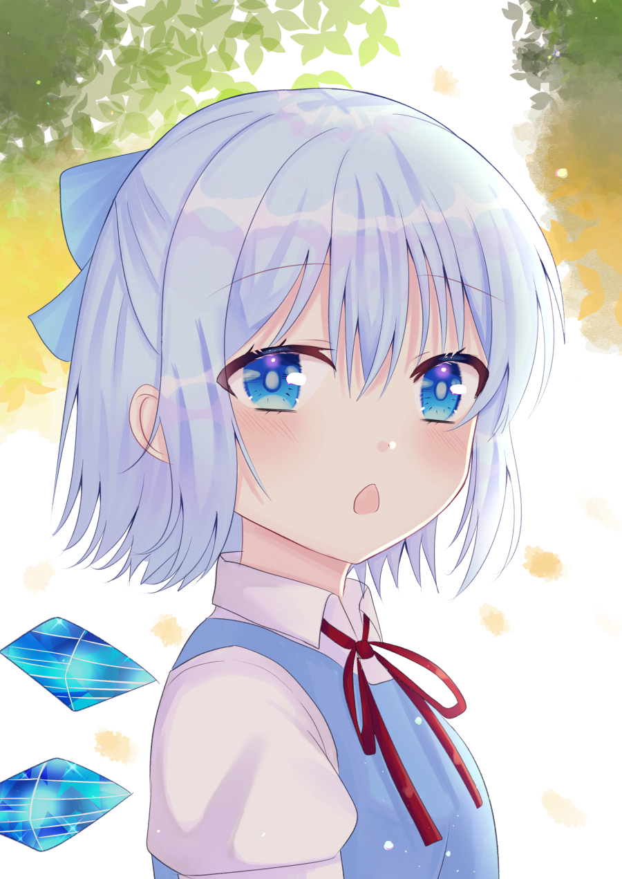 1girl blue_dress blue_eyes blue_hair blue_ribbon blurry chestnut_mouth cirno commentary depth_of_field dress eyebrows_visible_through_hair from_side hair_between_eyes hair_ribbon highres leaf leaf_background light_blush looking_at_viewer nibosisuzu outdoors pinafore_dress puffy_short_sleeves puffy_sleeves red_neckwear red_ribbon ribbon shirt short_hair short_sleeves solo standing touhou upper_body white_shirt wings