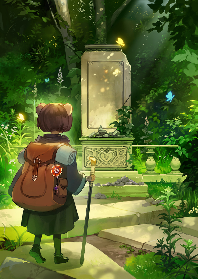 androgynous animal_ears backpack bag bob_cut brown_hair bug butterfly crack dappled_sunlight day facing_away fantasy glowing_butterfly grass holding_cane insect light_particles long_sleeves marble nature original overgrown pantyhose pebble plant railing robe ruins shoe_soles shoes short_hair solo standing sunlight taku_(fishdrive) vines wind_chime