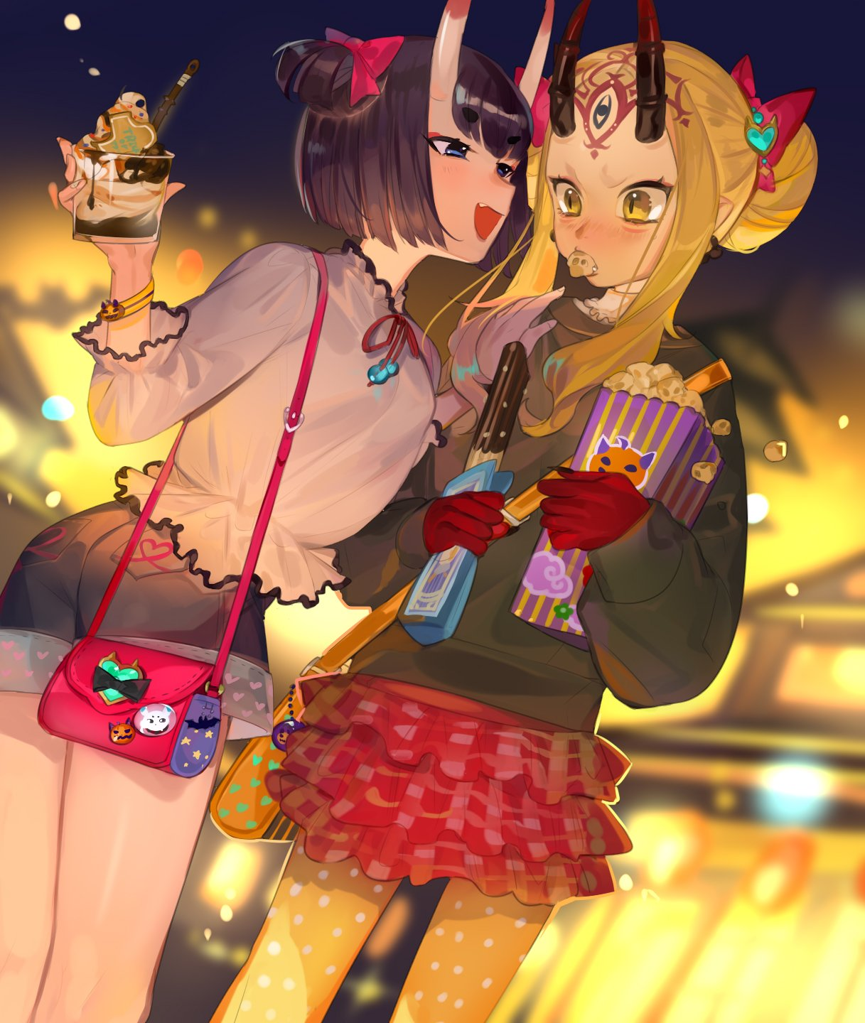 2girls :d bag bangs black_hair black_shirt black_shorts blue_eyes blurry blurry_background blush bow breasts casual commentary cup depth_of_field dutch_angle earrings eyebrows_visible_through_hair facial_mark fang fate/grand_order fate_(series) food food_in_mouth forehead_mark hair_bow hair_bun hair_ornament handbag heart heart_hair_ornament highres holding holding_cup holding_food horns ibaraki_douji_(fate/grand_order) ice_cream jewelry layered_skirt long_sleeves mouth_hold multiple_girls nose_blush one_side_up oni oni_horns open_mouth orange_legwear pantyhose picube525528 pleated_skirt pointy_ears polka_dot polka_dot_legwear popcorn puffy_long_sleeves puffy_sleeves red_bow red_skirt shirt short_eyebrows short_shorts shorts shoulder_bag shuten_douji_(fate/grand_order) skirt sleeves_past_wrists small_breasts smile thick_eyebrows white_shirt