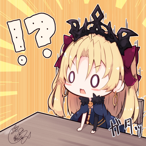 !? /\/\/\ 0_0 1girl arm_support bangs beni_shake blonde_hair blue_cape blue_dress blush_stickers bow cape chair chibi commentary_request dress ereshkigal_(fate/grand_order) eyebrows_visible_through_hair fate/grand_order fate_(series) fur-trimmed_cape fur_trim hair_between_eyes hair_bow hat long_hair long_sleeves purple_bow single_sleeve skull solo spine table tiara two_side_up v-shaped_eyebrows