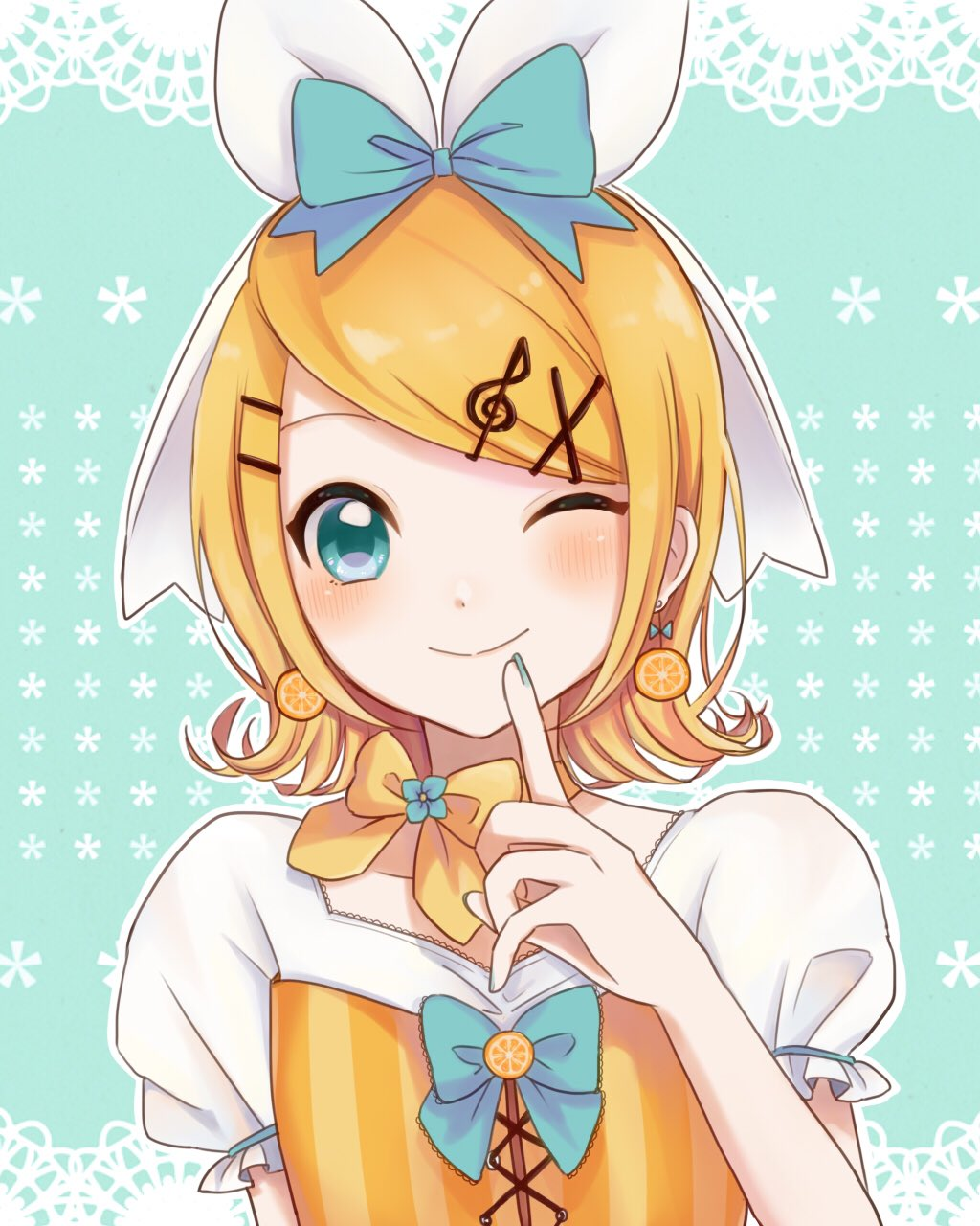 1girl ai10_k00 aqua_background aqua_bow aqua_eyes aqua_nails aqua_neckwear bangs blonde_hair blush bow bowtie commentary earrings finger_to_mouth food food_themed_earrings fruit hair_bow hair_ornament hairclip hand_up highres index_finger_raised jewelry kagamine_rin lace_background looking_at_viewer nail_polish one_eye_closed orange orange_earrings orange_neckwear orange_shirt puffy_sleeves shirt short_hair short_sleeves smile solo swept_bangs treble_clef treble_clef_hair_ornament upper_body vocaloid white_bow white_shirt