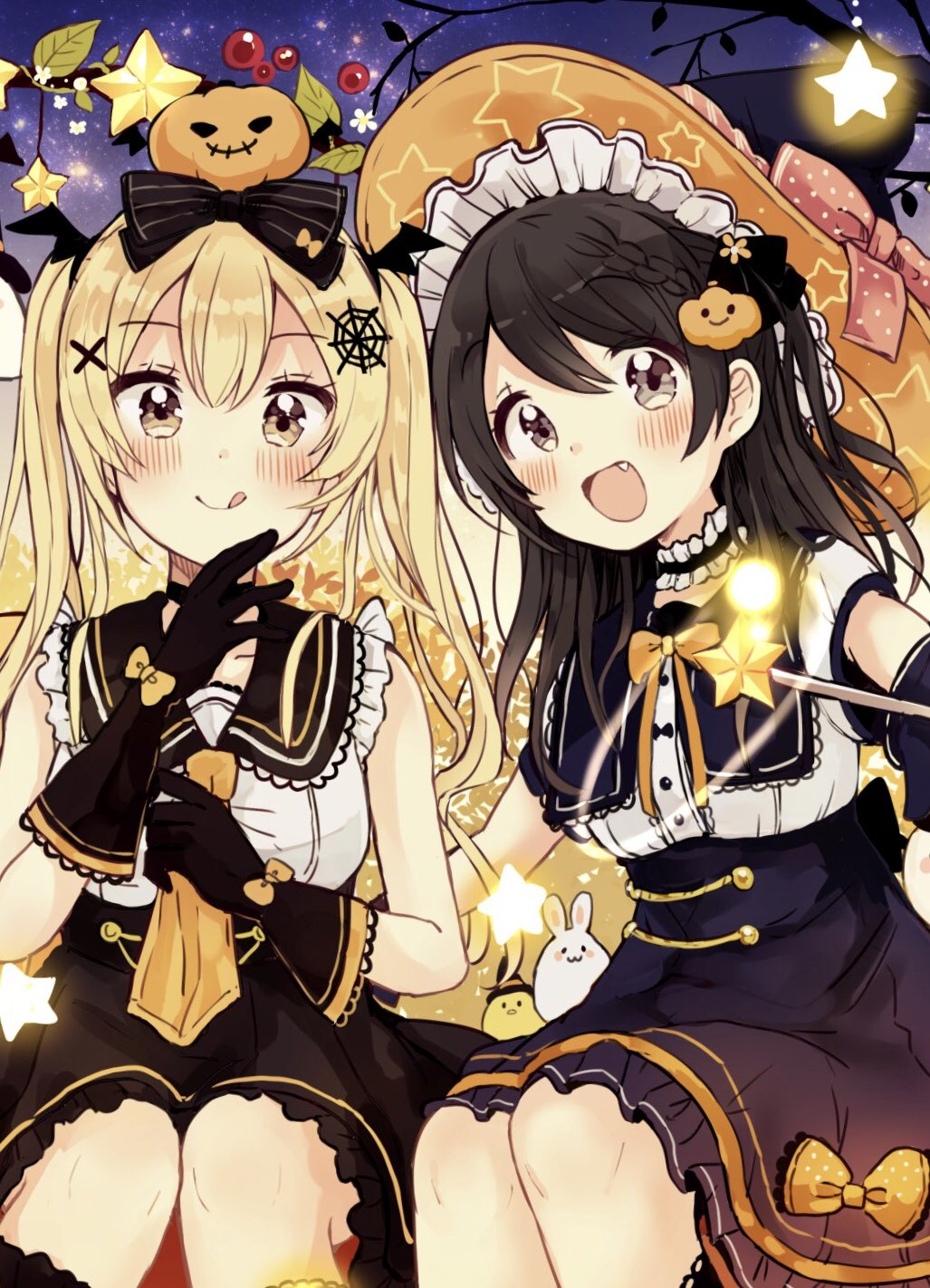 2girls :d :q animal bare_shoulders bird black_bow black_gloves black_hair black_headwear black_sailor_collar black_skirt blonde_hair blush bow braid brown_eyes chick closed_mouth fang food_themed_hair_ornament gloves hair_bow hair_ornament halloween hat highres long_hair multiple_girls open_mouth orange_bow orange_headwear orange_neckwear original pleated_skirt pumpkin_hair_ornament rabbit sailor_collar sakura_oriko shirt skirt sleeveless sleeveless_shirt smile spider_web_hair_ornament star star_print striped striped_bow tongue tongue_out twintails very_long_hair wand white_shirt witch_hat x_hair_ornament