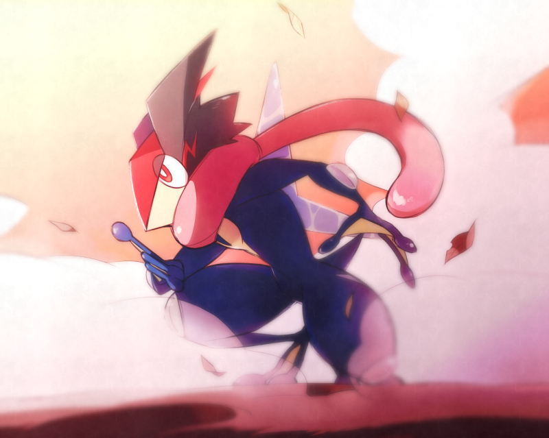 ame_(ame025) ash-greninja blurry bright_pupils commentary_request from_side full_body gen_6_pokemon greninja kneeling leaves_in_wind pokemon pokemon_(creature) red_eyes shuriken smoke solo tongue white_pupils