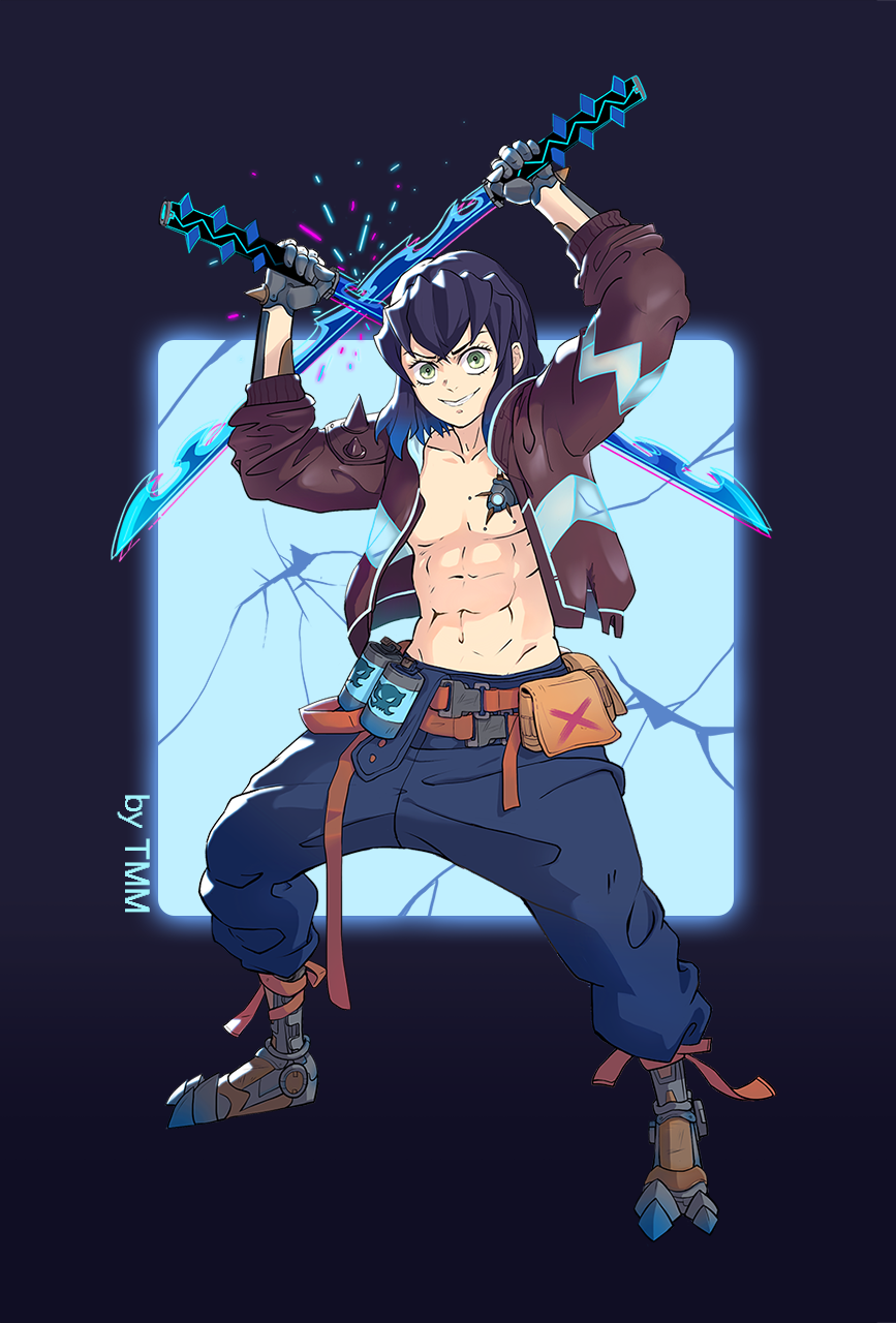 1boy abs artist_name bangs belt blue_hair blue_pants brown_jacket chest clash crack cyborg dual_wielding explosive fanny_pack fighting_stance full_body gradient_hair green_eyes grenade grin hands_up hashibira_inosuke highres holding holding_sword holding_weapon jacket kimetsu_no_yaiba legs_apart long_sleeves looking_at_viewer lulu_yang male_focus mechanical_hands mechanical_legs mechanical_parts multicolored_hair navel no_mask open_clothes open_jacket pants science_fiction see-through short_hair smile solo spikes standing sword weapon