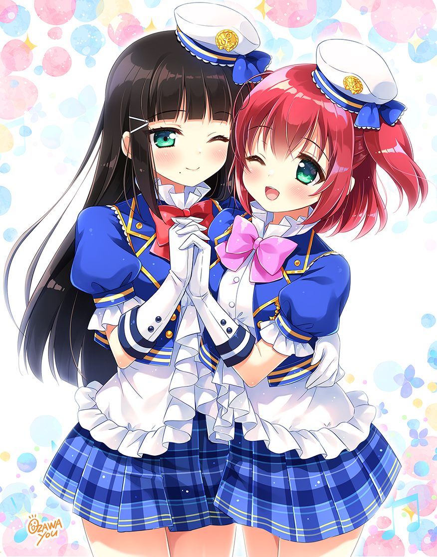 2girls bangs black_hair blue_skirt blunt_bangs bow bowtie closed_mouth commentary_request eyebrows_visible_through_hair frilled_shirt frills gloves green_eyes hair_ornament hairclip hand_on_another's_waist hat holding_hands kurosawa_dia kurosawa_ruby long_hair love_live! love_live!_sunshine!! medium_hair mini_hat miniskirt mole mole_under_mouth multiple_girls one_eye_closed open_mouth ozawa_yuu pink_neckwear plaid plaid_skirt pleated_skirt puffy_short_sleeves puffy_sleeves red_neckwear redhead shirt short_sleeves siblings sisters skirt two_side_up white_gloves