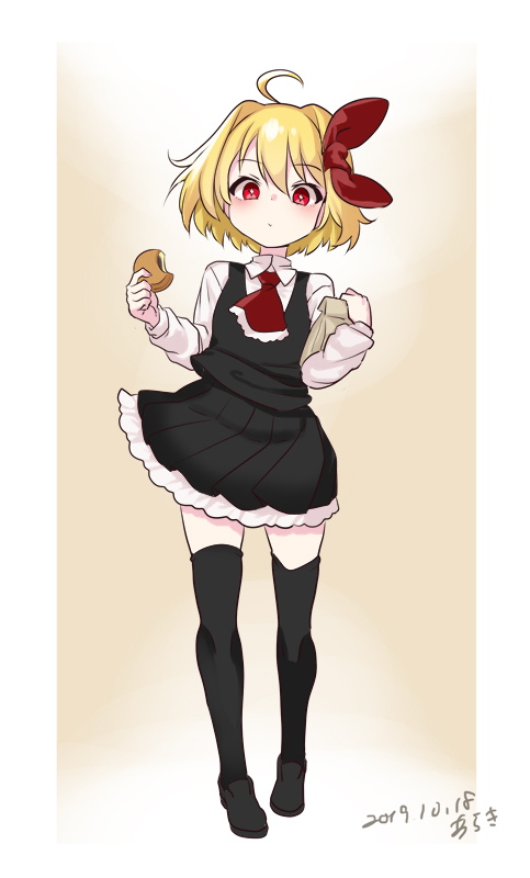1girl ahoge araki_(qbthgry) arms_up artist_name bag baozi black_footwear black_legwear black_skirt black_vest blonde_hair commentary_request contrapposto cravat dated expressionless eyebrows_visible_through_hair food full_body gradient gradient_background hair_between_eyes hair_ribbon holding holding_bag holding_food light_blush loafers long_sleeves looking_at_viewer paper_bag partial_commentary petticoat red_eyes red_neckwear ribbon rumia shirt shoes short_hair skirt solo standing tan_background thigh-highs touhou vest white_shirt zettai_ryouiki