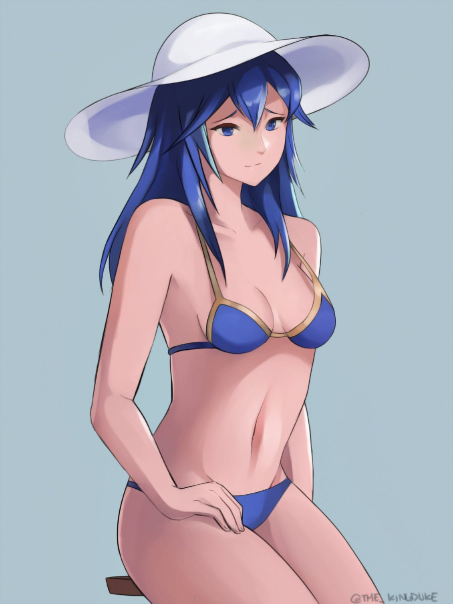 1girl bikini blue_bikini blue_eyes blue_hair cute fire_emblem fire_emblem:_kakusei fire_emblem_awakening hat intelligent_systems long_hair lucina lucina_(fire_emblem) navel nintendo sitting smile solo summer summer_hat swimsuit the_kingduke white_hat