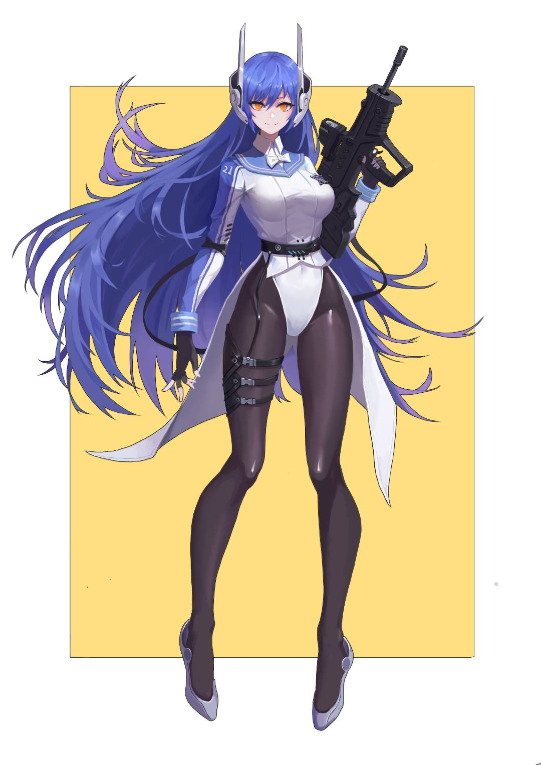 1girl assault_rifle belt black_gloves black_legwear blue_hair border breasts brown_legwear bullpup eyebrows_behind_hair fingerless_gloves floating_headgear girls_frontline gloves gun hexagram highres imi_tavor_tar-21 jacket leotard leotard_under_clothes long_hair long_sleeves looking_at_viewer mecha_musume medium_breasts orange_eyes pantyhose personification rifle robot_ears shoes solo standing star_of_david tailcoat tar-21_(girls_frontline) very_long_hair weapon white_border white_footwear white_leotard wristband yellow_background yellow_eyes zwc1271750321