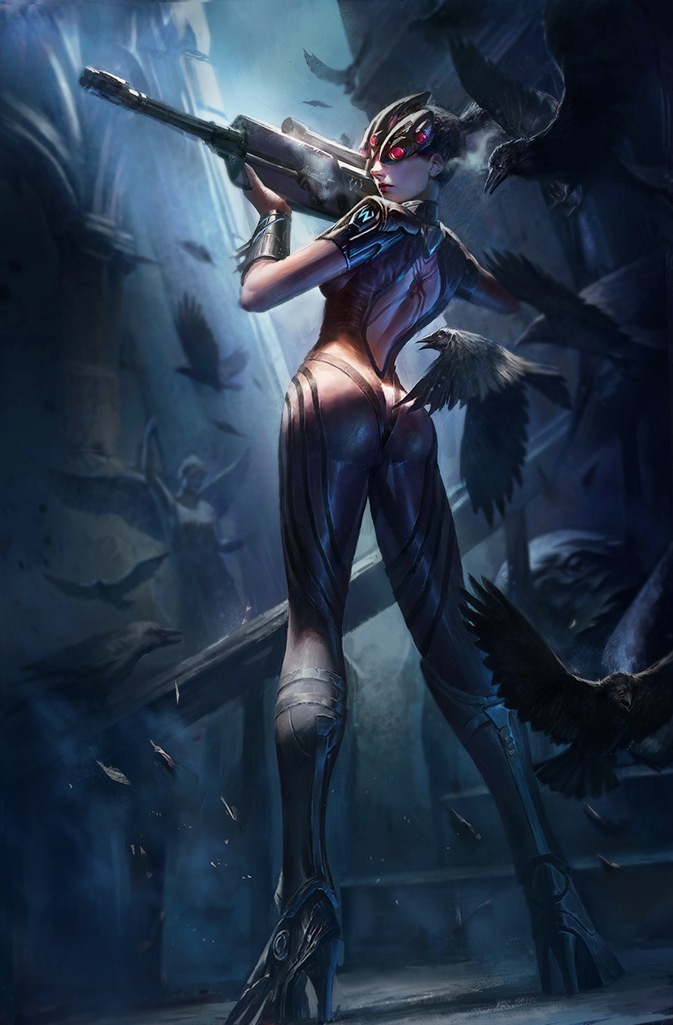 1girl ass back_tattoo bird bodysuit breath chinese_commentary crow gun head_mounted_display high_heels highres holding holding_gun holding_weapon long_hair looking_at_viewer looking_back overwatch ponytail purple_skin rifle sniper_rifle solo spider_tattoo standing tattoo visor wang_chen weapon widowmaker_(overwatch)
