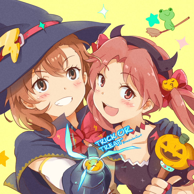 1other 2girls biribiri black_cape black_dress broom broom_riding brown_eyes brown_hair cape coin commentary_request dress electricity gekota grin ha_neko halloween hat jack-o-lanter long_hair looking_at_viewer misaka_mikoto multiple_girls shirai_kuroko short_hair smile star starry_background to_aru_kagaku_no_railgun to_aru_majutsu_no_index twintails twitter_username upper_body witch_hat yellow_background
