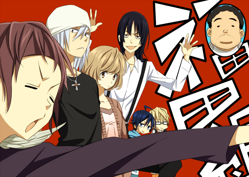 1girl 6+boys :> :d :o ahoge aoki_yuriko bakuman bandana bangs beard beige_shirt black-framed_eyewear black_hair black_shirt blonde_hair blue_eyes blue_hair blunt_bangs bowl_cut brown_hair cardigan chibi close-up closed_eyes collarbone cross cross_necklace curly_hair dress_shirt face facial_hair feathers frown fukuda_shinta glasses hands_up headphones headphones_around_neck hiramaru_kazuya jewelry light_smile long_sleeves looking_at_another looking_at_viewer mashiro_moritaka minagawa multiple_boys nakai_takurou necklace nervous niizuma_eiji open_mouth outstretched_arm parted_lips purple_hair purple_shirt red_background shiny shiny_hair shirt short_hair sidelocks simple_background smile straight_hair suspenders sweatdrop takagi_akito upper_body v-shaped_eyebrows white_bandana white_hair white_shirt