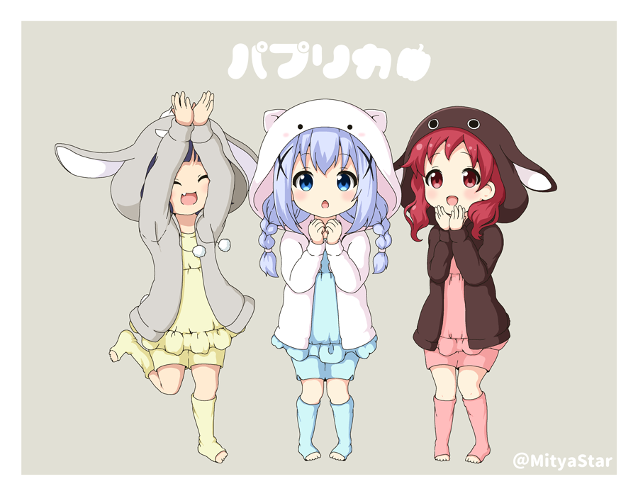 3girls :d ^_^ animal_ears animal_hood anko_(gochiusa) arms_up bangs blue_camisole blue_eyes blue_hair blue_legwear blue_shorts blush braid brown_jacket bunny_hood chestnut_mouth chimame-tai closed_eyes commentary_request drawstring eyebrows_visible_through_hair fake_animal_ears fang gochuumon_wa_usagi_desu_ka? grey_background grey_jacket hair_between_eyes hair_ornament hood hood_up hooded_jacket jacket jouga_maya kafuu_chino kneehighs long_hair long_sleeves miicha multiple_girls natsu_megumi no_shoes open_clothes open_jacket open_mouth pink_camisole pink_legwear pink_shorts pom_pom_(clothes) rabbit_ears red_eyes redhead shorts sidelocks simple_background smile standing standing_on_one_leg tippy_(gochiusa) toeless_legwear translated twin_braids twitter_username white_jacket wild_geese x_hair_ornament yellow_camisole yellow_legwear yellow_shorts