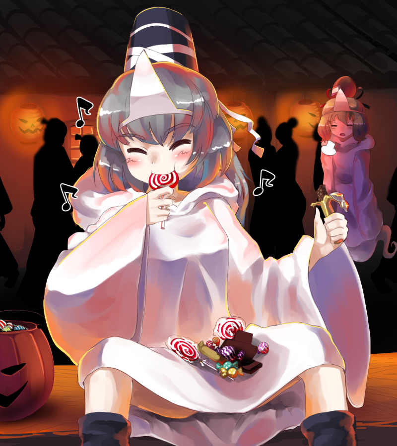 2girls 6+others =3 alternate_costume ankle_boots basket black_footwear blush boots candy candy_bar closed_eyes commentary_request eyebrows_visible_through_hair facing_viewer floating food ghost_costume ghost_tail green_hair halloween hat head_tilt holding_candy jack-o'-lantern lollipop long_hair mononobe_no_futo multiple_girls multiple_others short_hair silhouette silver_hair sitting sleeves_past_wrists smile soga_no_tojiko spread_legs sunyup swirl_lollipop tate_eboshi thick_eyebrows touhou triangular_headpiece wide_sleeves