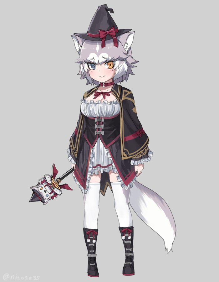 1girl alternate_costume animal_ears black_capelet black_footwear black_headwear blue_eyes boots bow capelet collar commentary_request dog_(mixed_breed)_(kemono_friends) dog_ears dog_tail dress eyebrows_visible_through_hair frilled_dress frilled_sleeves frills full_body grey_hair hat hat_bow heterochromia kemono_friends long_sleeves multicolored_hair neck_ribbon nyifu red_collar ribbon short_hair solo tail thigh-highs wand white_dress white_hair white_legwear witch_costume witch_hat yellow_eyes zettai_ryouiki