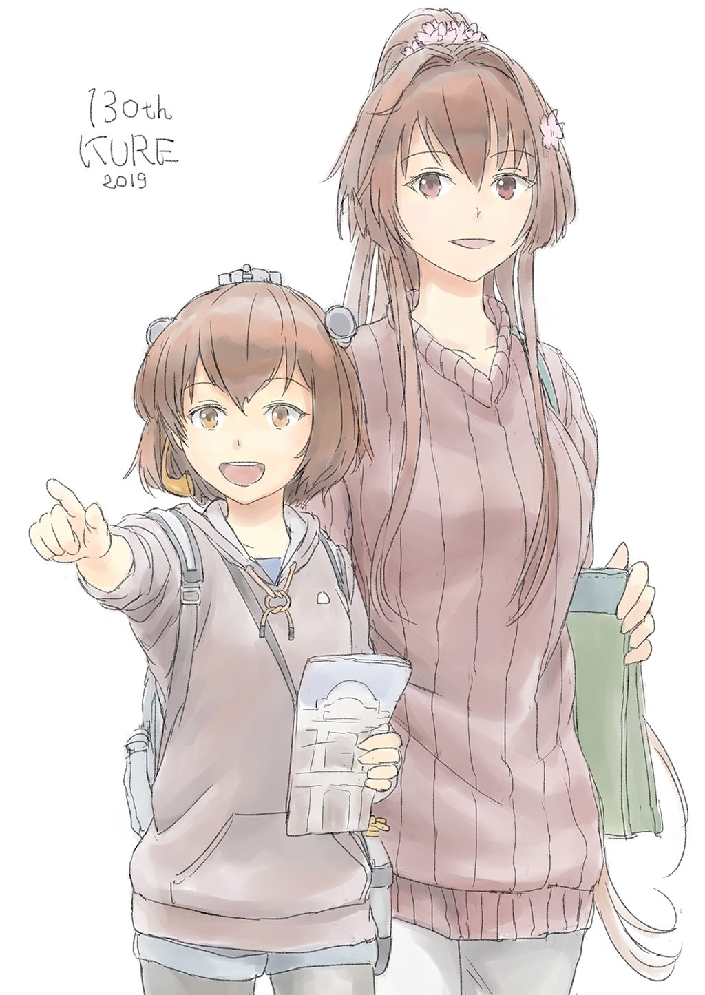 2girls alternate_costume bag black_legwear brown_eyes brown_hair brown_sweater cherry_blossoms commentary_request cowboy_shot flower grey_sweater hair_flower hair_ornament headgear headset height_difference highres hood hooded_sweater hoodie kantai_collection long_hair multiple_girls open_mouth pamphlet pantyhose pointing ponytail ribbed_sweater round_teeth short_hair simple_background smile speaking_tube_headset sweater taruya teeth upper_teeth white_background yamato_(kantai_collection) yukikaze_(kantai_collection)