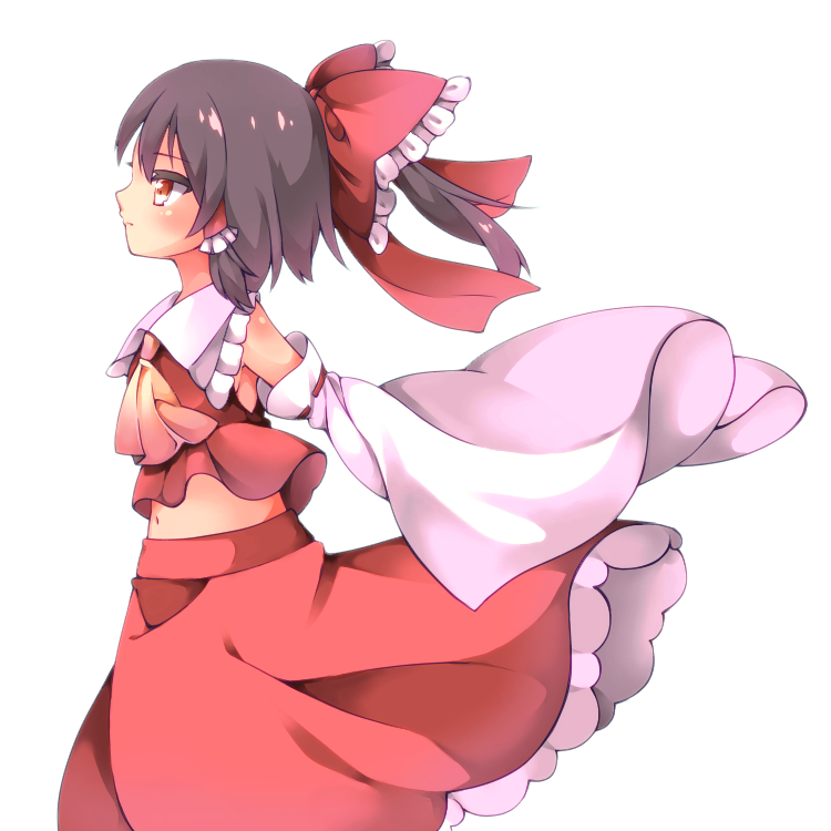 1girl arms_behind_back black_hair bow commentary cowboy_shot cravat cycloneyukari detached_sleeves expressionless from_side hair_bow hair_tubes hakurei_reimu looking_to_the_side midriff_peek navel petticoat ponytail profile red_eyes red_skirt red_vest short_hair sidelocks simple_background skirt sleeves_past_fingers sleeves_past_wrists solo standing touhou vest white_background wind wind_lift yellow_neckwear