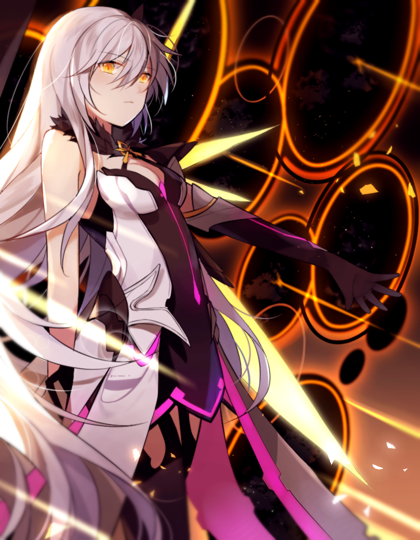 1girl ahoge armor armored_dress bangs bare_shoulders breasts dark_persona dimensional_hole dress elbow_gloves energy_wings expressionless eyebrows_visible_through_hair floating floating_weapon fur_collar gloves hair_between_eyes hair_ornament honkai_(series) honkai_impact_3rd kiana_kaslana kiana_kaslana_(herrscher_of_the_void) large_breasts lnnnnnnn long_hair looking_at_viewer medium_breasts polearm sidelocks silver_hair single_elbow_glove sky solo spear symbol-shaped_pupils thigh-highs very_long_hair weapon yellow_eyes