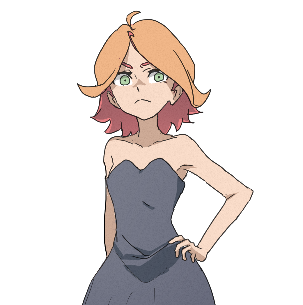 1girl alternate_hairstyle amanda_o'neill bare_shoulders black_dress dress green_eyes little_witch_academia looking_at_viewer multicolored_hair orange_hair simple_background solo supure_(kitten) two-tone_hair white_background