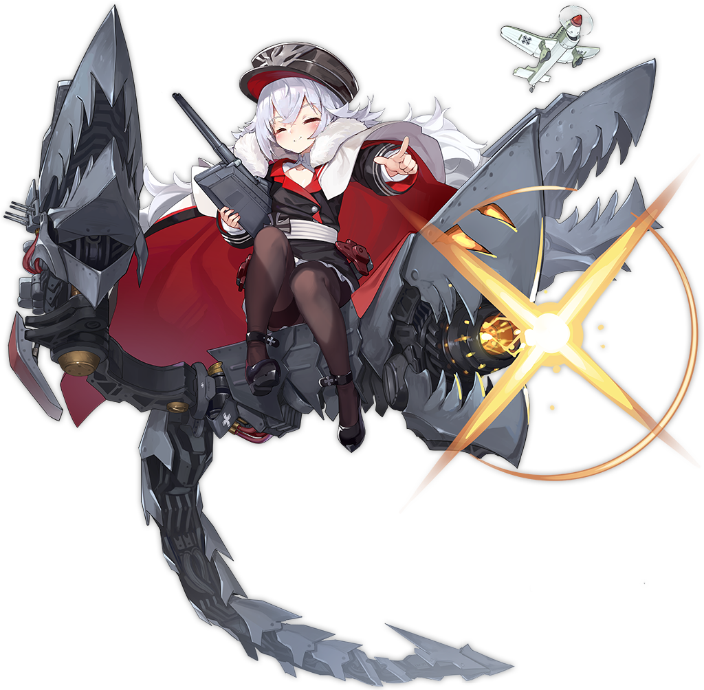 1girl artist_request azur_lane black_headwear black_legwear closed_eyes full_body graf_zeppelin_(azur_lane) hat long_sleeves military military_hat military_uniform multicolored_hair official_art pantyhose peaked_cap pointing pointing_at_viewer rigging silver_hair smile streaked_hair thighband_pantyhose transparent_background uniform zeppelin-chan_(azur_lane)
