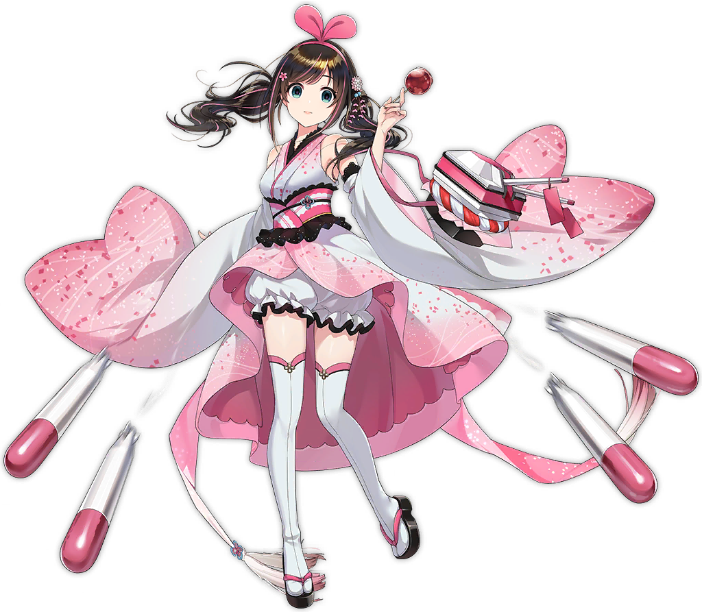 1girl a.i._channel alternate_costume alternate_hairstyle azur_lane bangs blue_eyes blush bow breasts brown_hair candy_apple closed_mouth eyebrows_visible_through_hair food geta hairband holding holding_food japanese_clothes kimono kizuna_ai kurot long_hair looking_at_viewer medium_breasts multicolored_hair official_art pants pink_hair pumpkin_pants rigging solo streaked_hair tachi-e thigh-highs torpedo transparent_background turret twintails virtual_youtuber white_legwear white_pants wide_sleeves