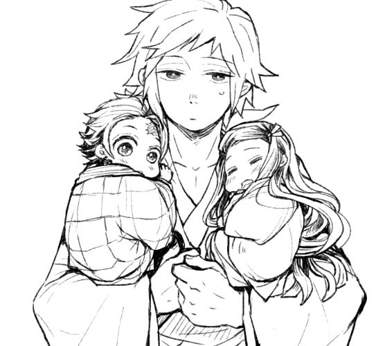 1girl 2boys brother_and_sister child child_carry closed_eyes curious drooling facial_scar facing_viewer greyscale hanten_(clothes) haori japanese_clothes kamado_nezuko kamado_tanjirou kimetsu_no_yaiba kimono long_hair long_sleeves looking_at_viewer looking_back monochrome multiple_boys parted_lips sanpaku scar siblings simple_background sitting sleeping sweatdrop takegin time_paradox tomioka_giyuu very_long_hair white_background younger