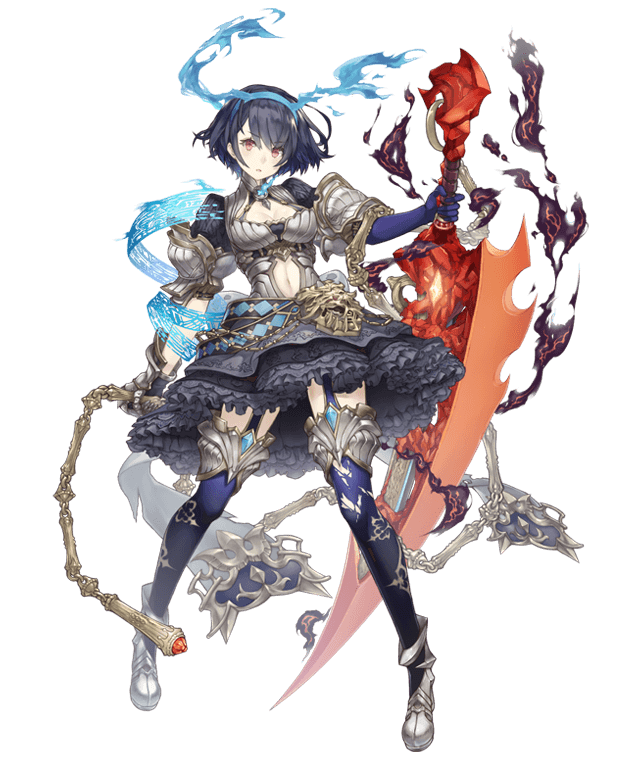 1girl alice_(sinoalice) armor armored_dress chain cleavage_cutout dark_blue_hair dress eyebrows_visible_through_hair frilled_dress frills full_body gold_trim hairband ji_no looking_at_viewer navel navel_cutout official_art red_eyes reverse_grip short_hair sinoalice smoke solo sword tattoo thigh-highs transparent_background weapon