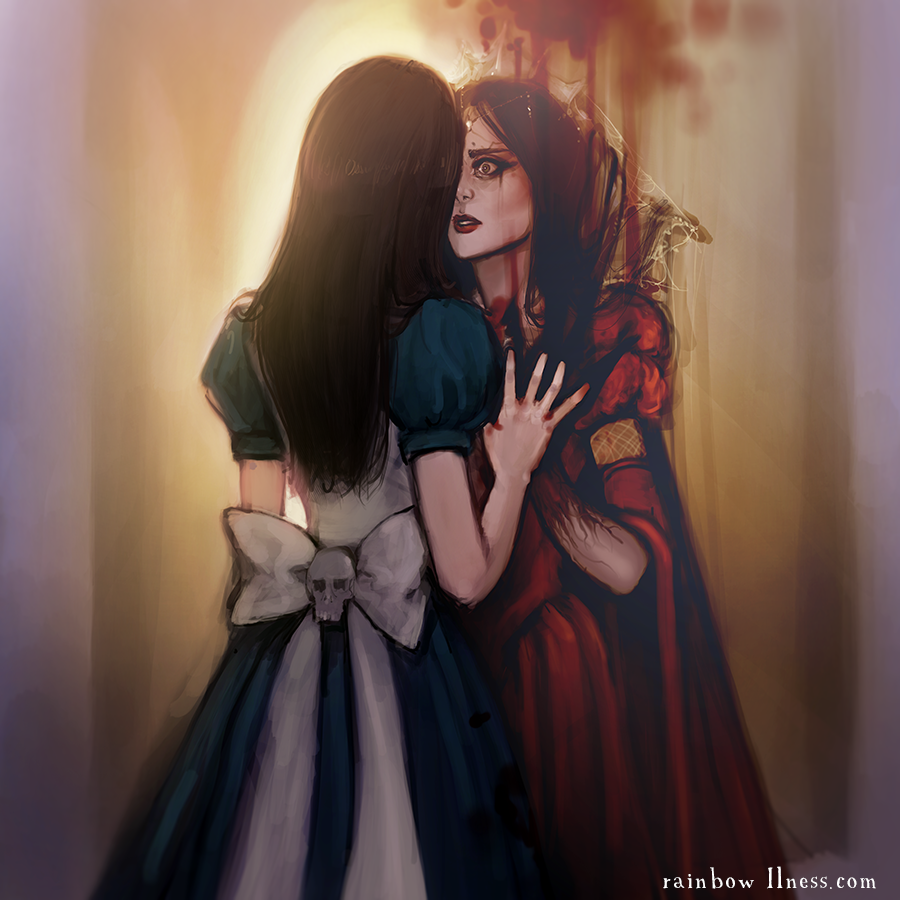 alice:_madness_returns alice_liddell american_mcgee's_alice back blood blue bow brown_hair dress holding_hands lips lipstick long_hair makeup mirror nw_(gravenidol) red_dress reflection skirt skull surprised