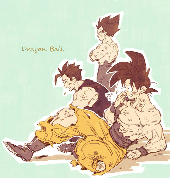 3boys :d abs amepati aqua_background arm_support bare_shoulders black_eyes black_hair boots chest closed_eyes copyright_name crossed_arms dirty dirty_clothes dirty_face dougi dragon_ball dragon_ball_z father_and_son finger_to_cheek frown full_body gloves grin leaning leaning_forward male_focus multiple_boys nervous nipples open_mouth outline pants serious shirt simple_background sitting smile son_gohan son_gokuu spiky_hair standing sweatdrop torn_clothes torn_pants torn_shirt vegeta white_gloves white_outline wristband