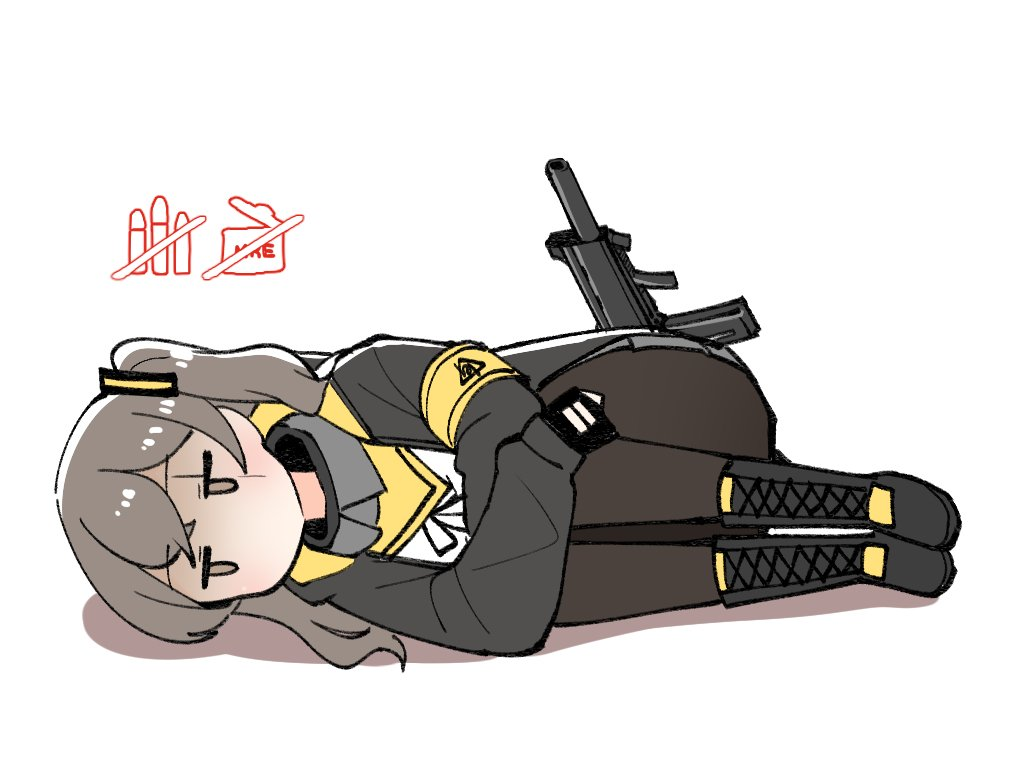 1girl armband black_gloves black_jacket black_legwear brown_eyes curled_up facial_scar fetal_position fingerless_gloves gameplay_mechanics girls_frontline gloves grey_hair gun h&k_ump h&k_ump45 jacket junsuina_fujunbutsu leg_hug long_hair long_sleeves lying on_side one_side_up open_clothes open_jacket pantyhose scar scar_across_eye simple_background solo submachine_gun ump45_(girls_frontline) weapon white_background