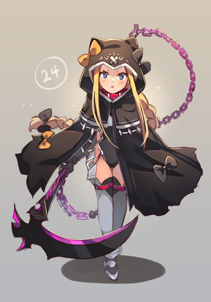 1girl abigail_williams_(fate/grand_order) armored_boots bangs belt_collar black_bow black_capelet black_cloak black_leotard blonde_hair blue_eyes blush boots bow braid breasts capelet chain cloak closed_mouth collar commentary cosplay english_commentary fate/grand_order fate_(series) forehead full_body grey_background hair_bow holding holding_scythe hood hood_up hooded_capelet hooded_cloak leotard long_hair looking_at_viewer low-tied_long_hair medusa_(lancer)_(fate) medusa_(lancer)_(fate)_(cosplay) miya_(pixiv15283026) multiple_bows orange_bow parted_bangs parted_lips rider scythe shadow sidelocks single_braid small_breasts solo very_long_hair