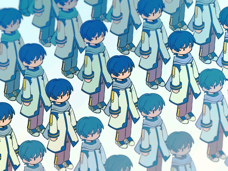 6+boys blue_hair blue_scarf brown_pants chibi clone coat commentary expressionless kaito multiple_boys no_mouth pants scarf shoes short_hair sneakers standing vocaloid white_coat xhinokox78