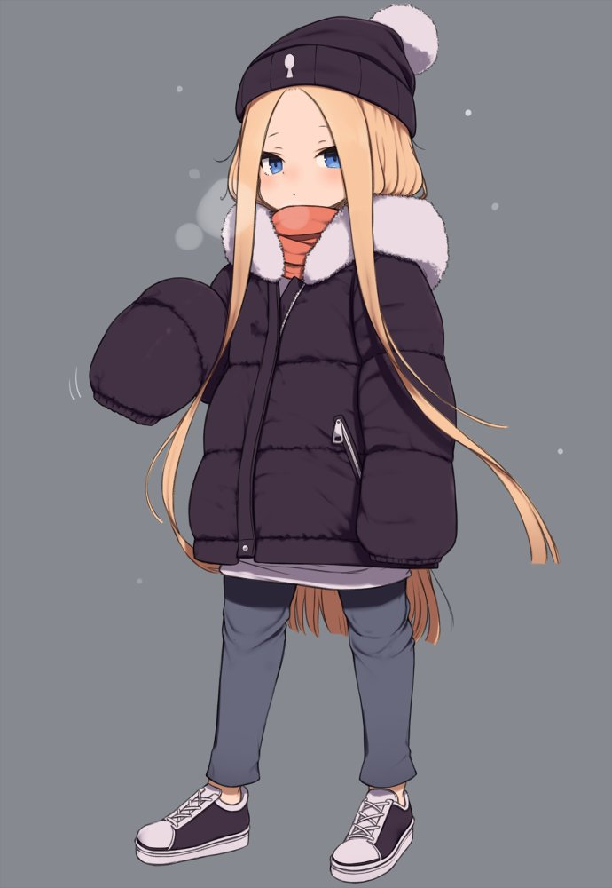 1girl abigail_williams_(fate/grand_order) alternate_costume bangs beanie black_footwear black_headwear black_jacket blonde_hair blue_eyes blue_pants blush breath closed_mouth commentary_request fate/grand_order fate_(series) forehead full_body fur-trimmed_jacket fur_trim gamuo grey_background hat jacket long_hair long_sleeves looking_at_viewer orange_scarf pants parted_bangs scarf shoes simple_background sleeves_past_fingers sleeves_past_wrists solo standing very_long_hair