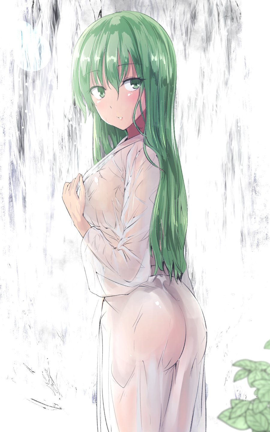 1girl ass bangs blush commentary_request cowboy_shot eyebrows_visible_through_hair from_side green_eyes green_hair hair_between_eyes highres kochiya_sanae leaf long_hair long_sleeves looking_at_viewer parted_lips robe see-through solo standing touhou wet wet_clothes white_background white_robe y2
